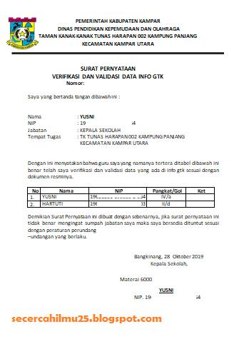 Format Surat Pernyataan Verifikasi Dan Validasi Info Gtk Dari Kepala Sekolah Secercah Ilmu