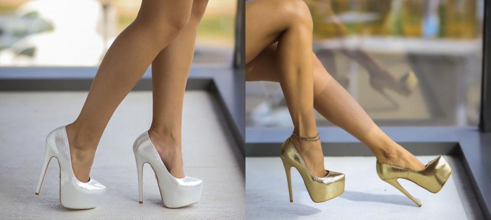 Pantofi aurii, argintii de ocazie cu toc inalt si platforma