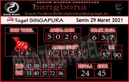Prediksi Bangbona SGP Senin 29 Maret 2021