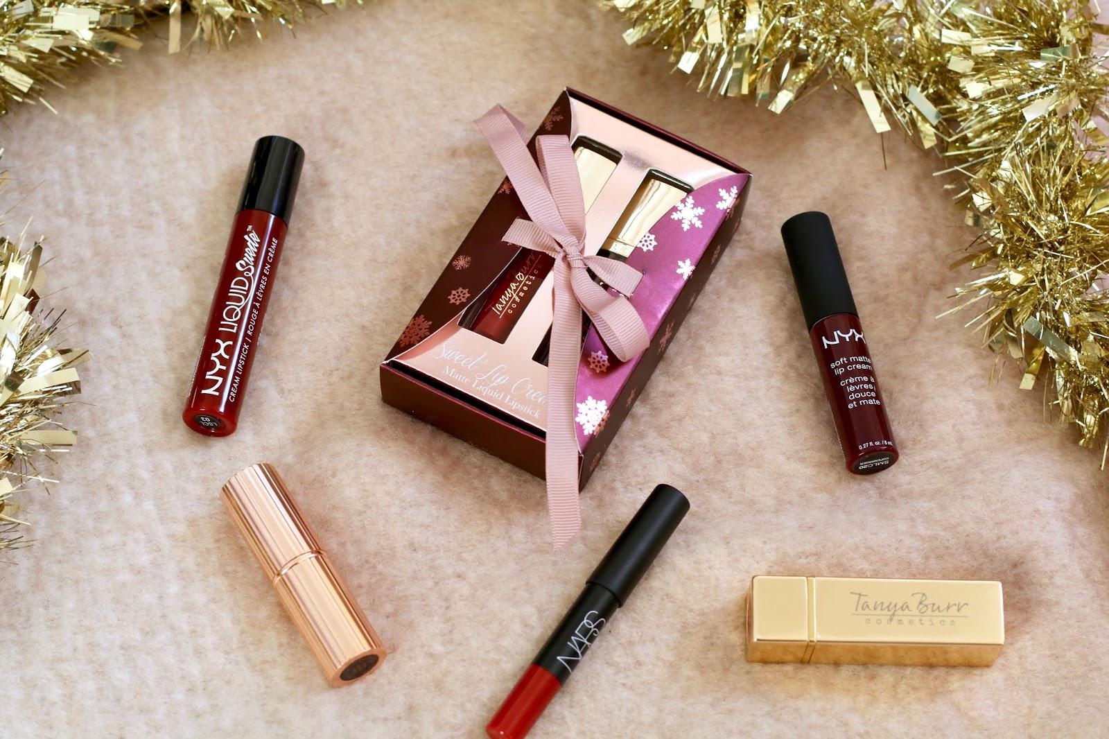 The-Perfect-Red-Lip-For-Christmas-Charlotte-Tilbury-Red-Carpet-Red-Nars-velvet-matte-lip-pencil-in-Cruella-Tanya-Burr-cosmetics-in-Big-Kiss-and-Santas-Little-Helper-NYX-soft-matte-lip-cream-in-Copenhagen-NYX-liquid-suede-in-Cherry-Skies