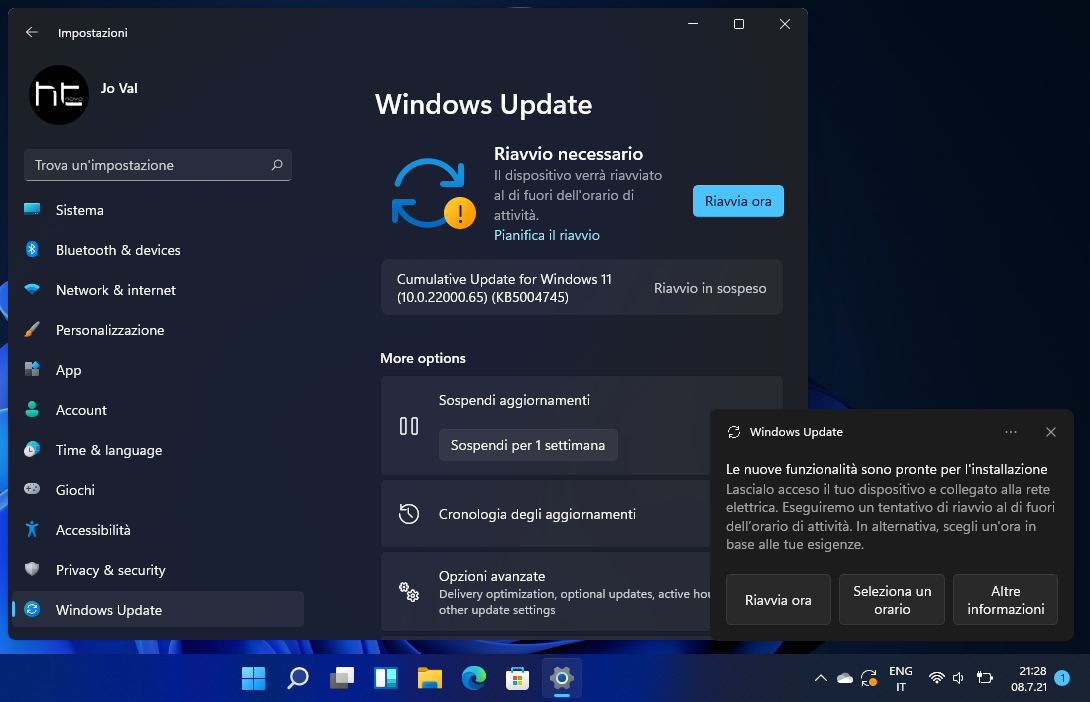 Download, installazione e novità di Windows 11 - Build 22000.65