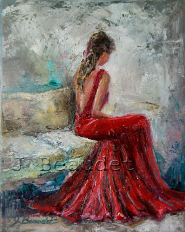 painting of lady in red dress sitting down looking away