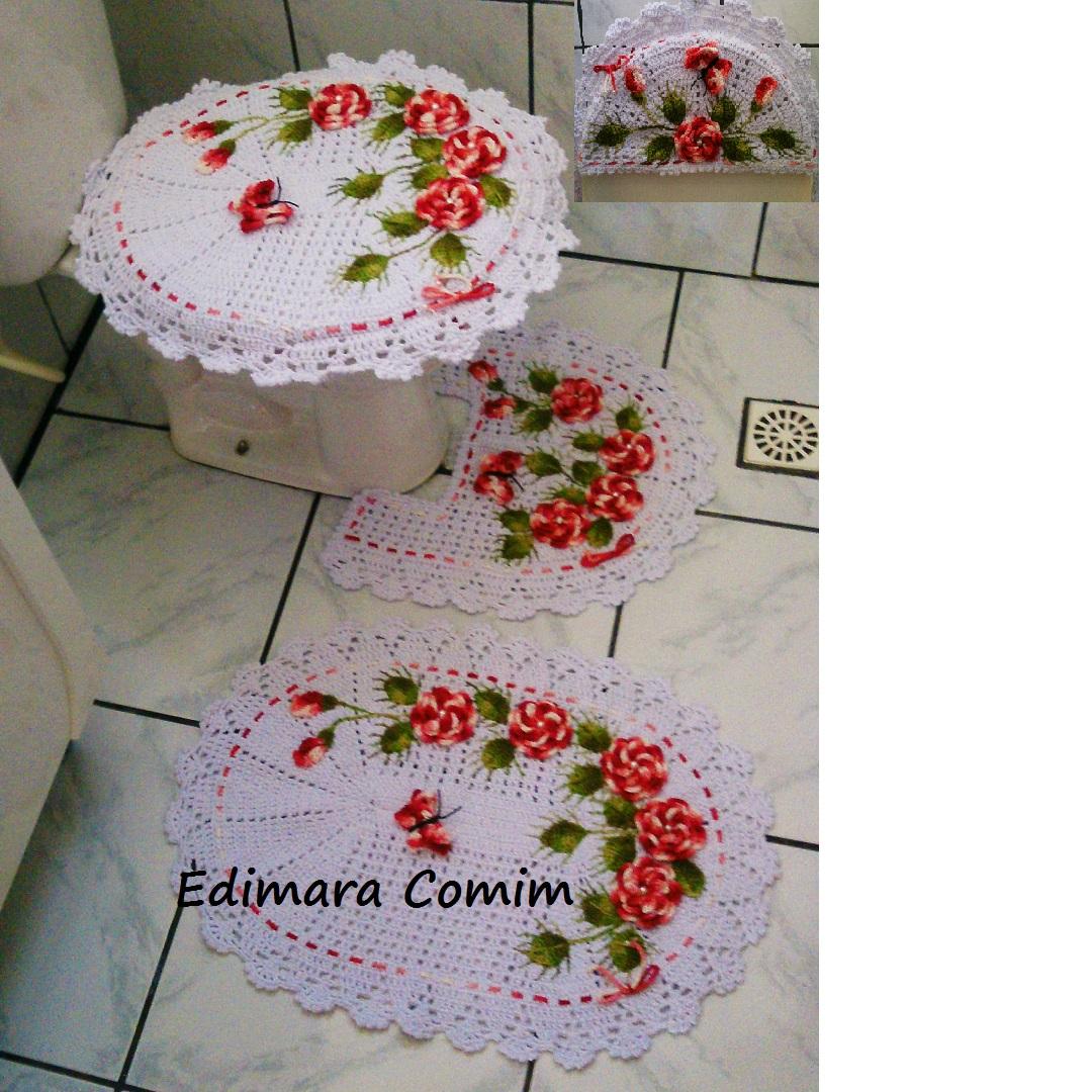 Favoritos Edimara Comim : Jogo de banheiro jardim de rosas com flores vermelhas GH08