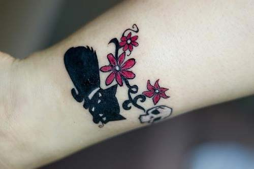 kara kedi bilek dövmeleri bayan black cat wrist tattoos for women