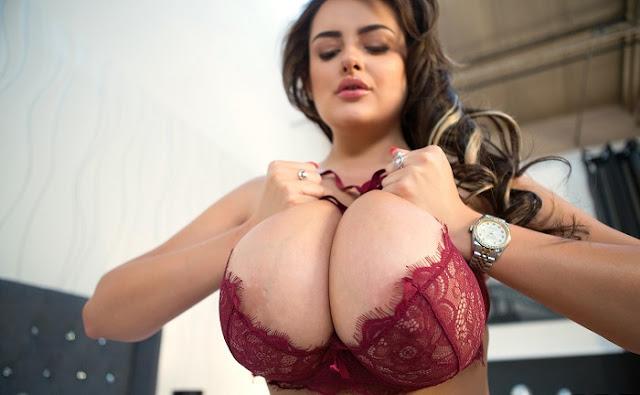 Katie Thornton big boobs red bikini  pics