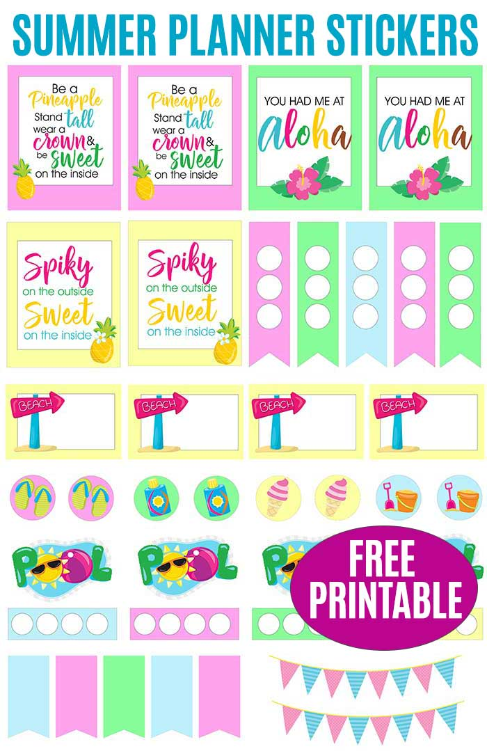 graphic regarding Free Printable Happy Planner Stickers identified as No cost Printable Summer months Planner Stickers Great for the Content