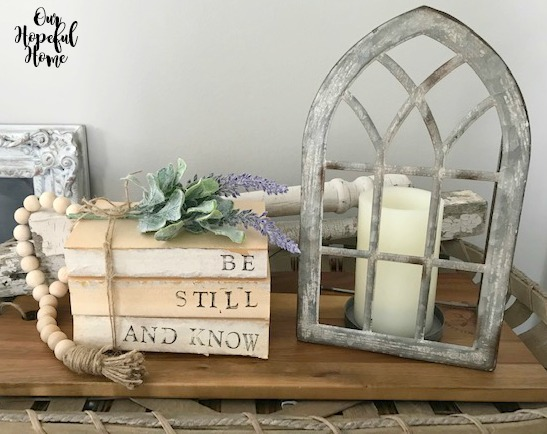 book bundle bible quote faux lambs ear lavender gothic arch metal candle holder