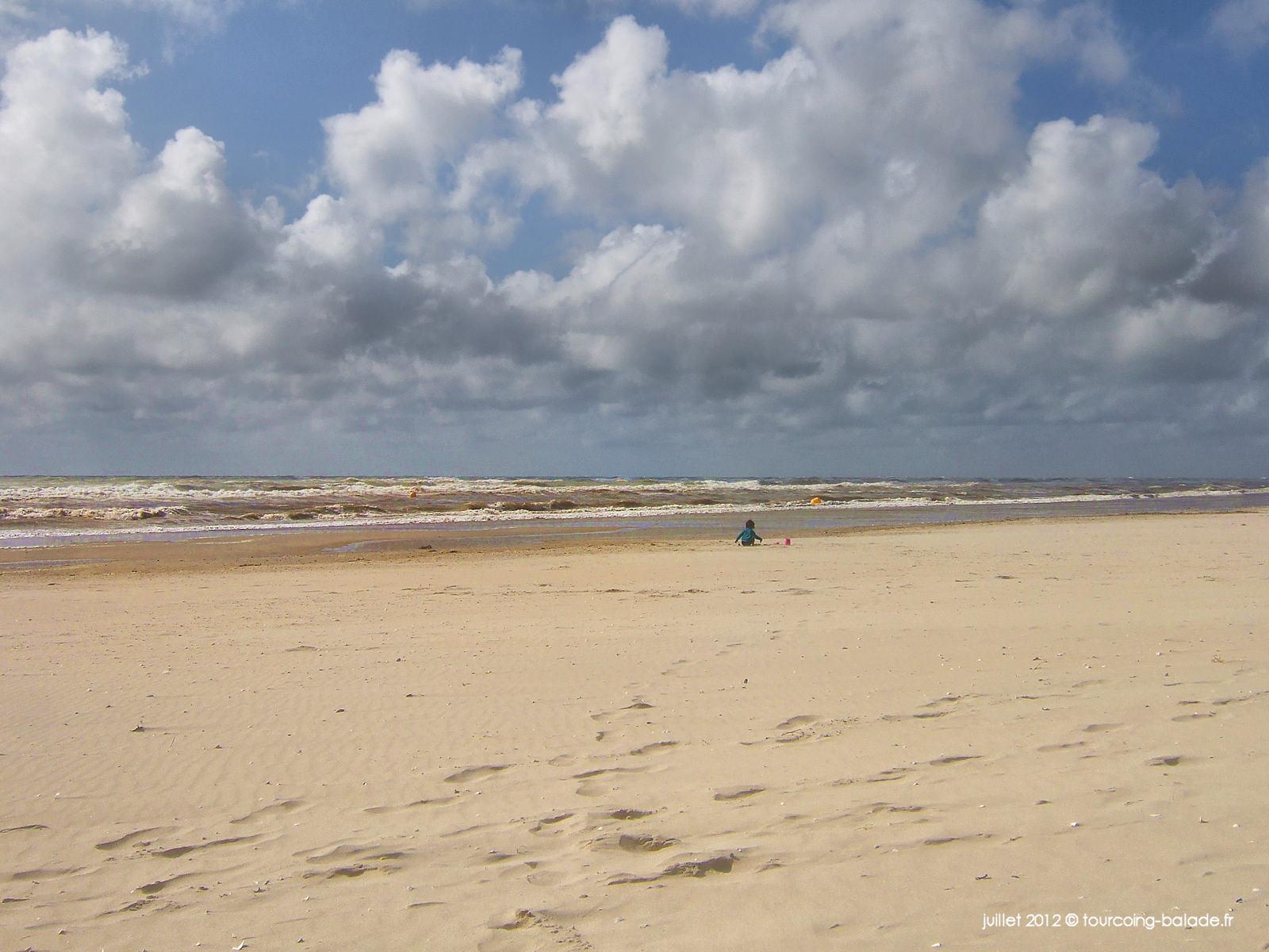 Plage de sable par gros temps - Le Crotoy