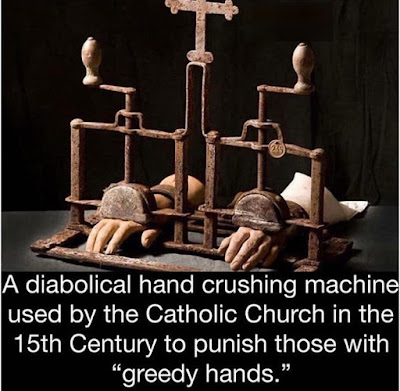 """A diabolical hand was crushing machine used by the Catholic Church in the 15th Century to punish those with """"greedy hands."""""""