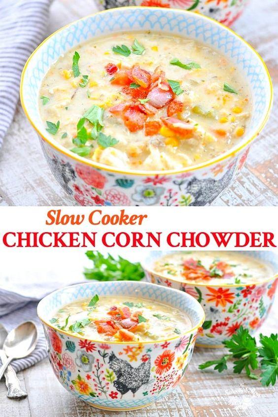 BEST SLOW COOKER CORN CHOWDER WITH CHICKEN