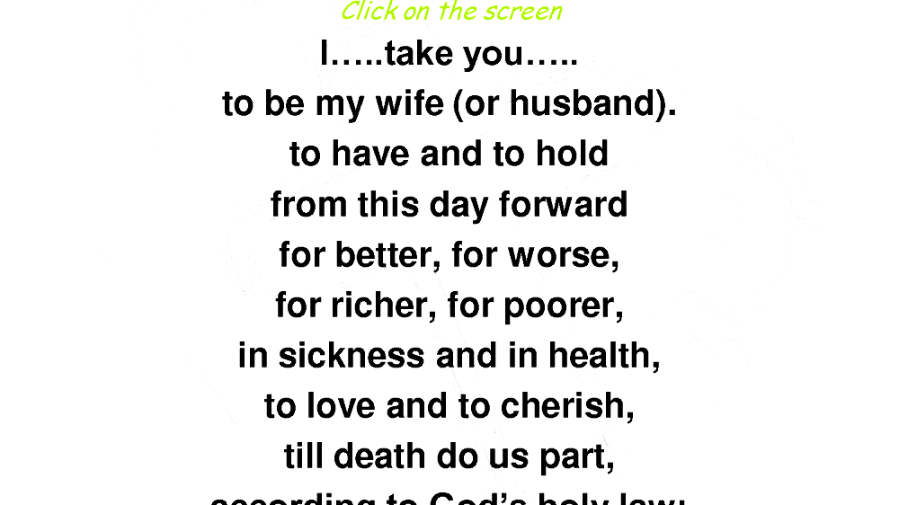 And in health in sickness wedding vows IN SICKNESS