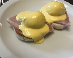 eggs benedict at linden hall hotel on white plate