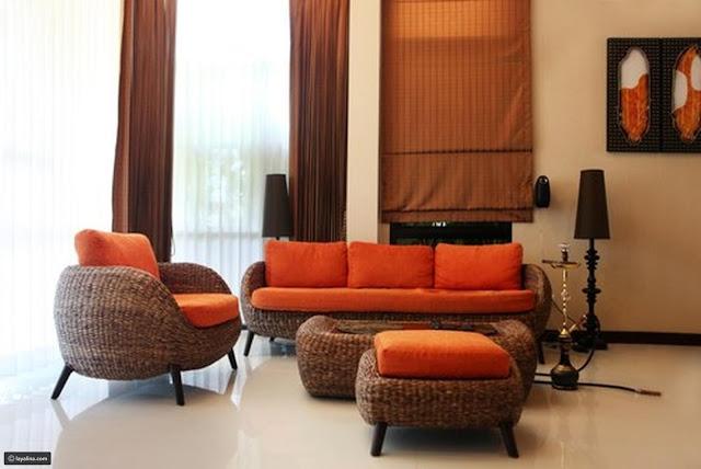ديكورات غرف ضيوف صغيره باللون البرتقالي تصميم 2018-2019