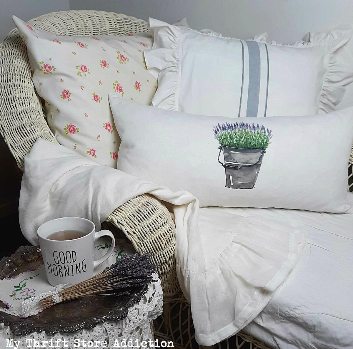 repurposed flour sack towel pillow
