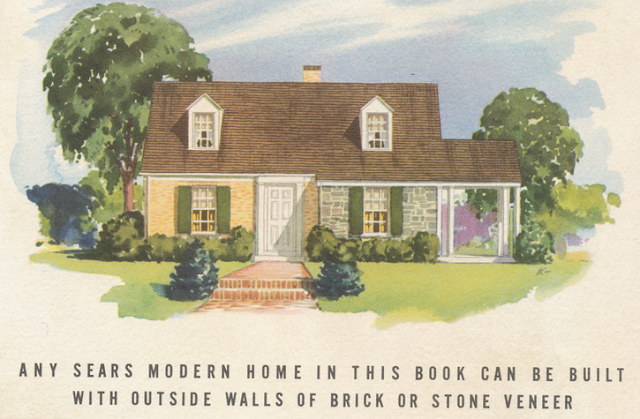 brick veneer or stone veneer as options in 1940 Sears Modern Homes catalog