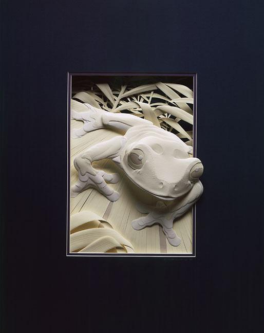 Trabajo artístico en papel de rana