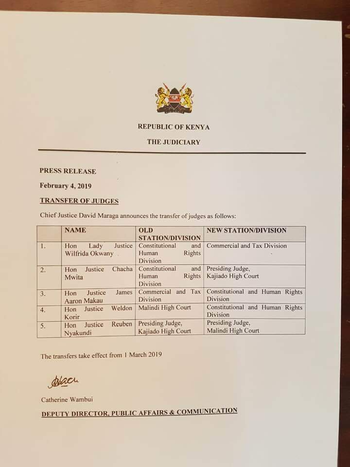 Chief Justice David Maraga transfers five judges in reshuffle that