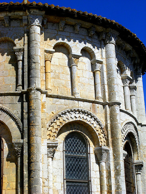 Detail of the church of Saint Maurice la Clouere, Vienne. France. Photographed by Susan Walter. Tour the Loire Valley with a classic car and a private guide.