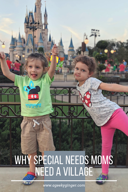 "A preschool aged boy in a bright green shirt standing next to a preschool aged girl in a Minnie Mouse shirt. Cinderella's castle is in the background. Photo reads ""Why Special Needs Moms Need A Village"""