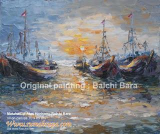 Lukisan Perahu Matahari di Atas Horison image