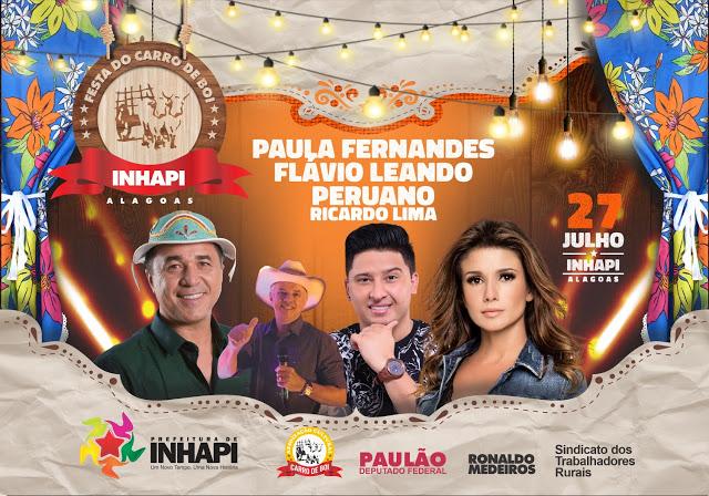 Prefeitura  de Inhapi desembolsa R$ 255  mil para shows de três bandas na 11ª Festa do Carro de Boi