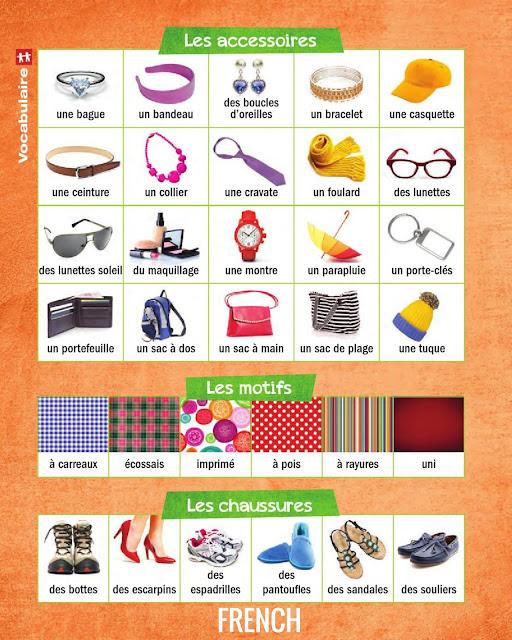 Apprendre le français en images, les accessoires, les motifs et les chaussures