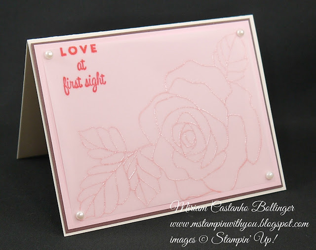 Miriam Castanho-Bollinger, #mstampinwithyou, stampin up, demonstrator, dsc, wedding card, heat embossing, rose wonder stamp set, first sight, su
