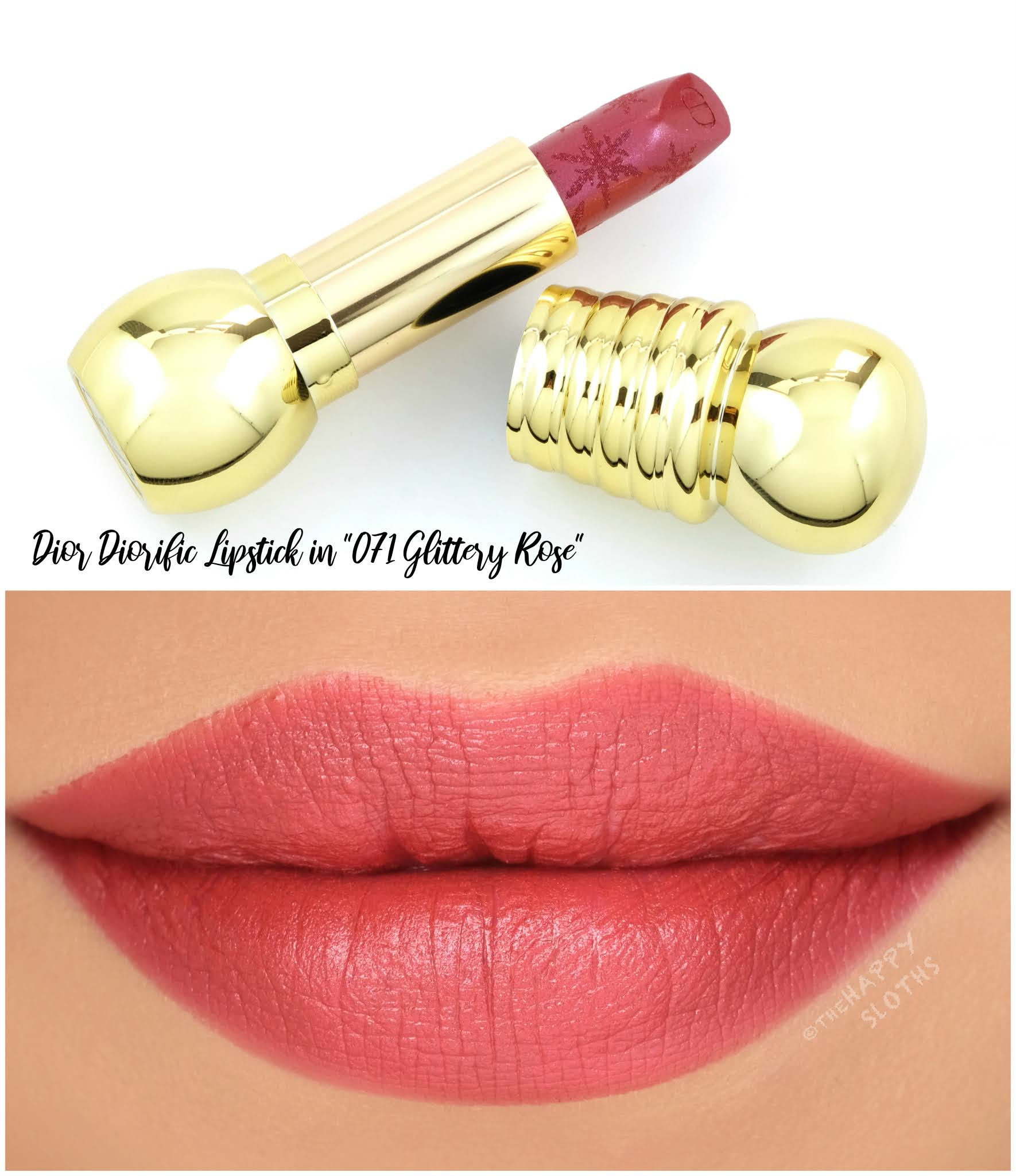 "Dior Holiday 2020 | Diorific Golden Nights Lipstick in ""071 Glittery Rose"": Review and Swatches"