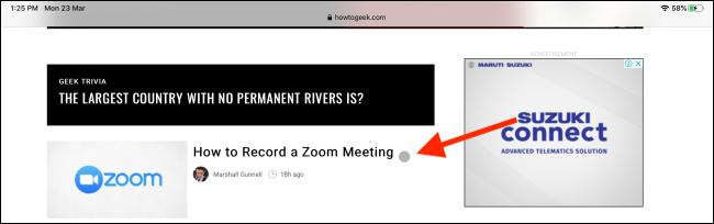 يظهر المؤشر على شاشة iPad