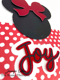 Minnie Mouse Gift Wrapped by Stampin' Up!® card.  The bow is Red Foil Paper (Red & Green Foil)!  Details and link to video on blog.  #StampinUp #StampTherapist
