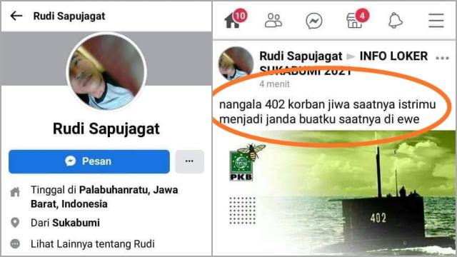 Tak Kapok, Masih Ada Netizen yang Menghina Tragedi KRI Nanggala 402, Kini Warga Sukabumi