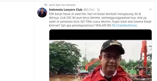 Judul ILC malam ini tanggal 25 Februari 2020 adalah Jakarta Dirundung Banjir, salahkah anies