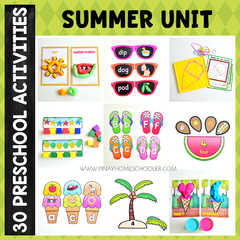 Summer Preschool Unit (Math and Literacy Centers)