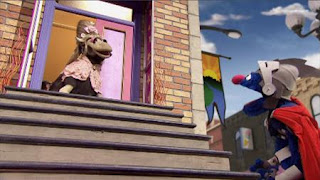 Super Grover 2.0 How Now Down Cow, a lady cow is stuck at the top of the stairs and Super Grover 2.0 tries to save lady cow, Sesame Street Episode 4408 Mi Amiguita Rosita season 44