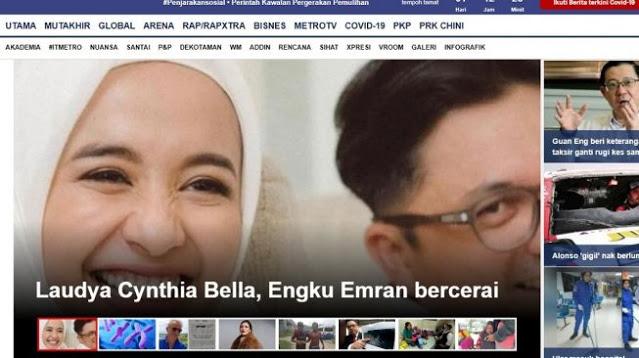 Perceraian Laudya Cynthia Bella - Engku Emran Jadi Headline Media Malaysia