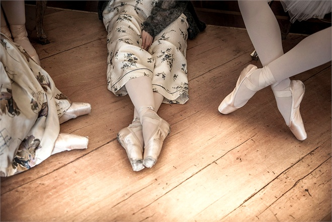 Ballerinas in Pointe shoes on wood floor Vogue Italy seen on Hello Lovely