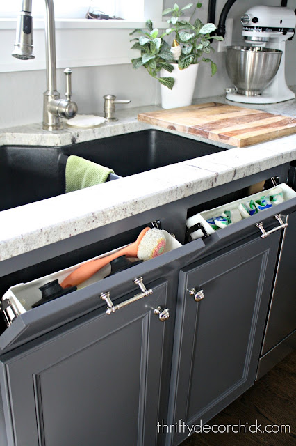 Tip out trays for hidden storage in the kitchen
