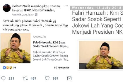 Beredar Meme dan Berita Fahri Hamzah Dukung Jokowi, Begini Jawaban Fahri