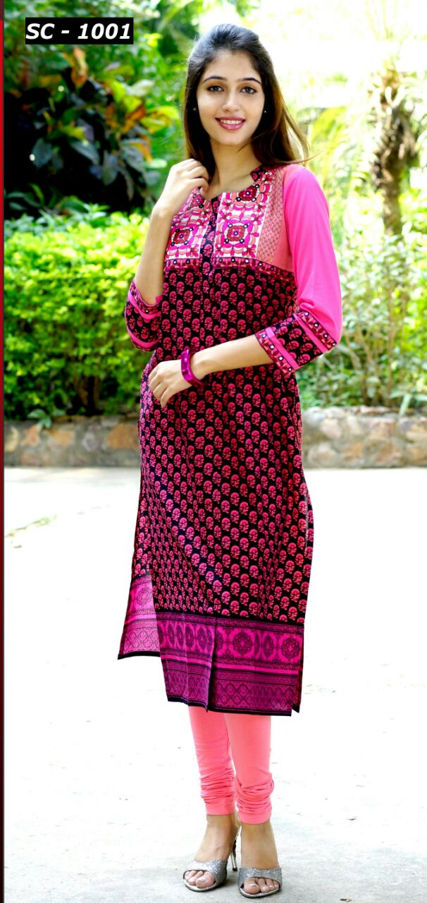SP NXG Kurti-Pure Cambric Cotton With Embroidery Work Kurti