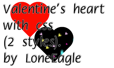 Valentine's heart with css (2 styles) by LoneEagle