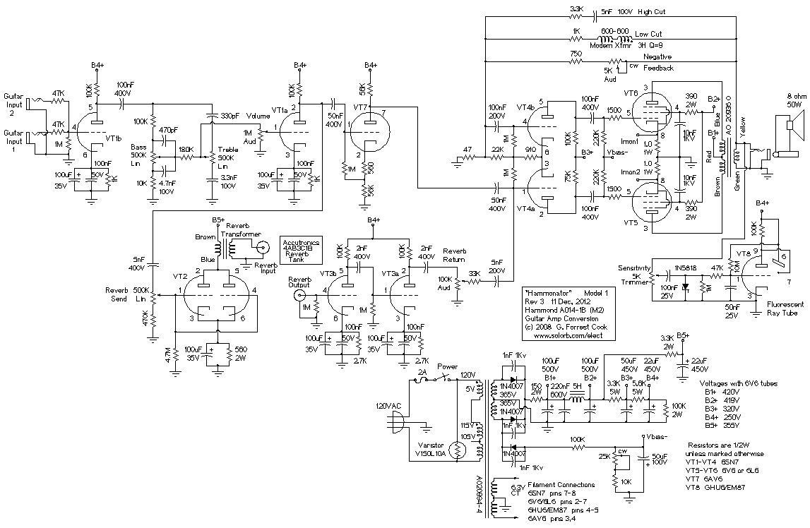 Hammonator Organ To Guitar Amp Conversion Circuit Diagram