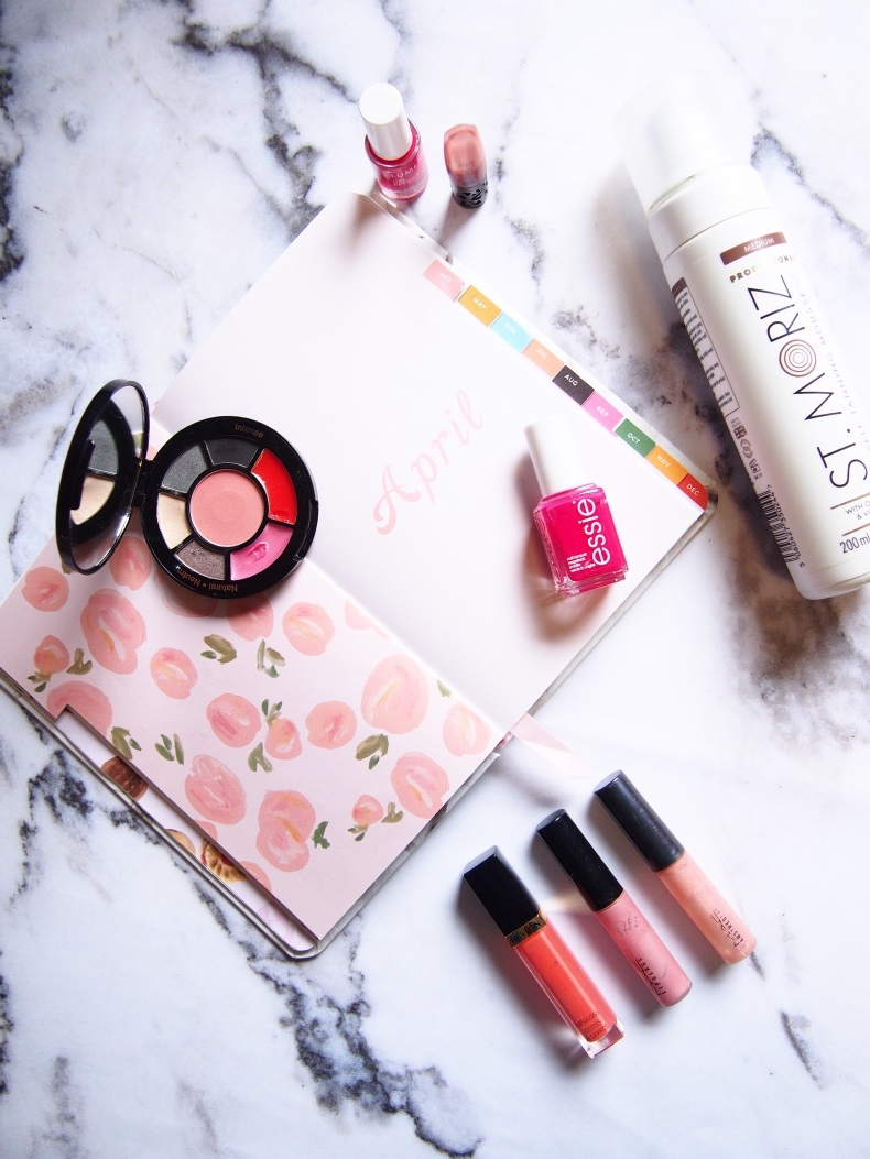 Spring beauty products flatlay