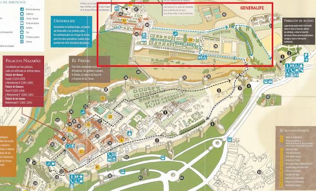 mapa del Generalife Alhambra