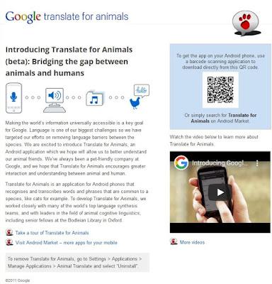 Poisson d'Avril 2010 de Google : Google Translate for Animals