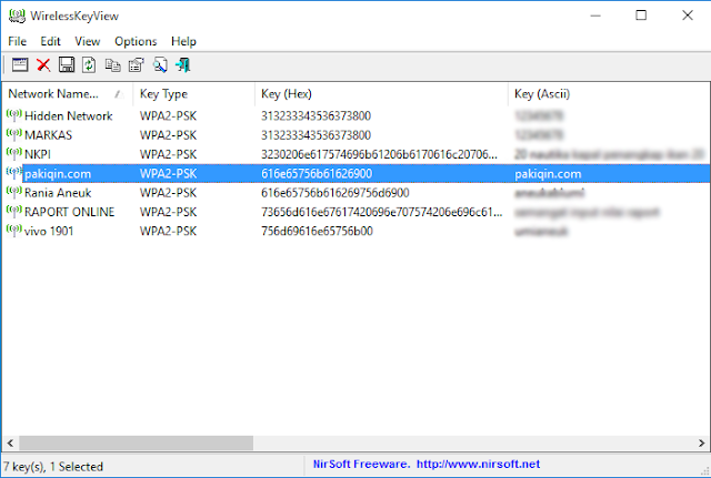 password wifi dengan WirelessKeyView