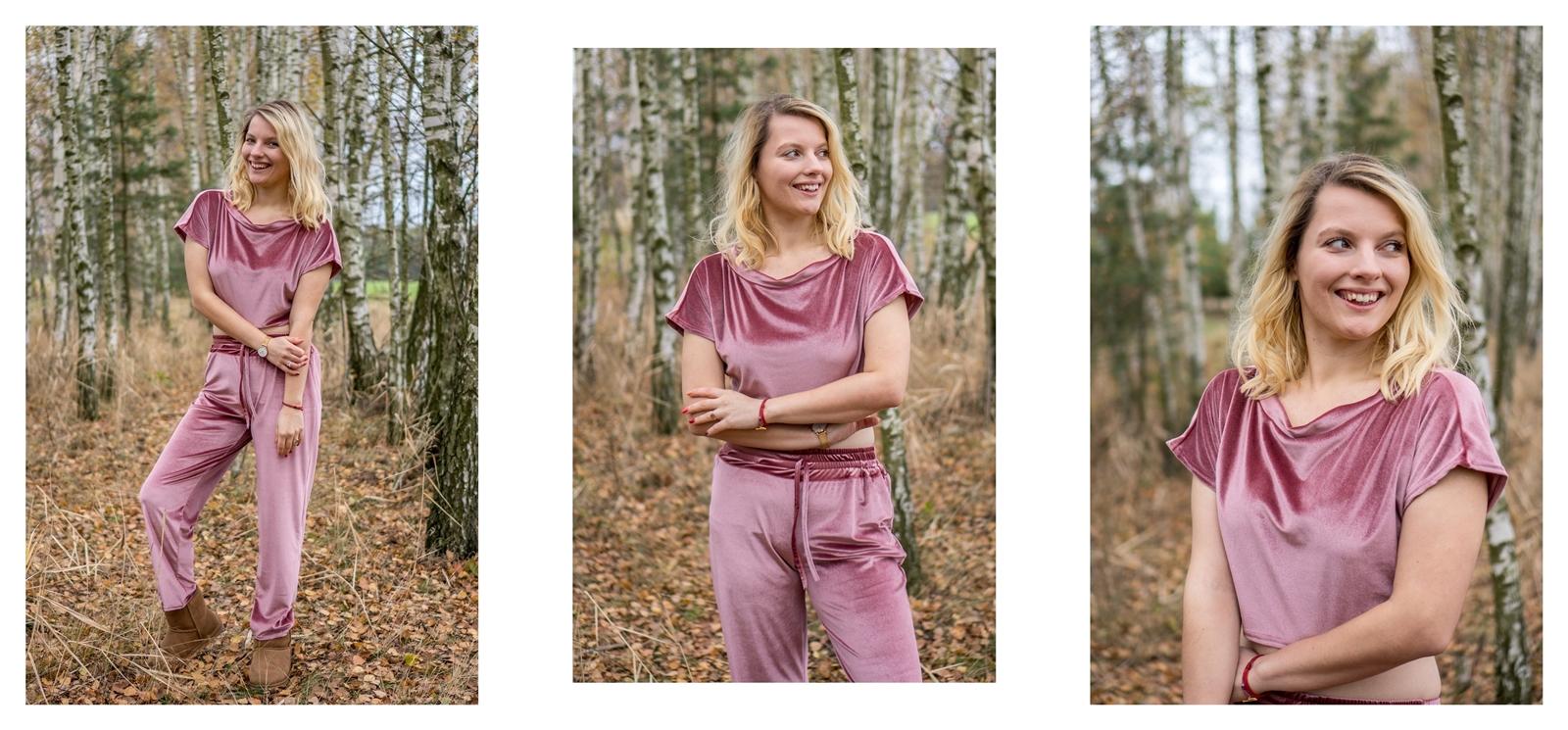 5 welurowy różowy miły i ciepły dres z długimi spodniami i krótkim topem jak ubrać się na jogę, ćwiczenia zumbę komplet dresowy różowy stylowy moda łódź cena zakupy bon rabatowy