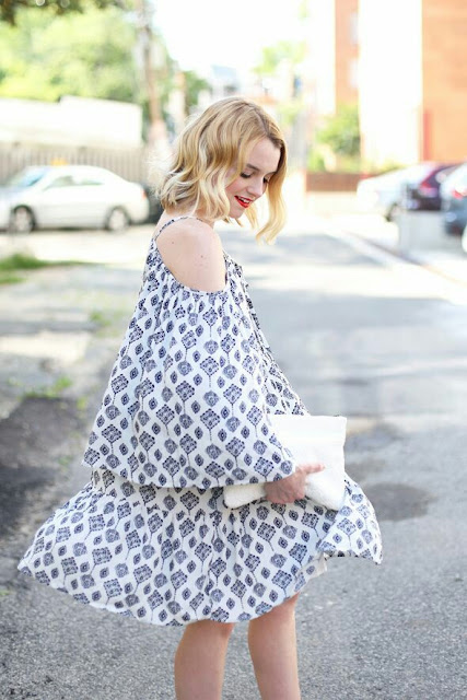 Strip shoulder printed maxi dress