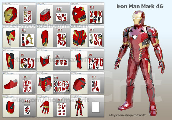 iron man suit template - iron man mk 46 magos do papel