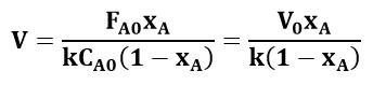 Ecuación de diseño del CSTR sustituida