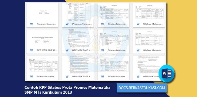 Contoh RPP Silabus Prota Promes Matematika SMP MTs Kurikulum 2013